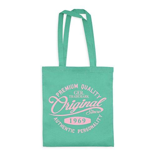 MDMA Shopper Cotton Bag Original Since 1969 Handwriting Premium Quality Textil mint / Motiv babyrosa - 42 x 38 cm -