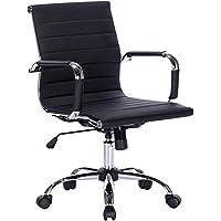 Mahmayi Ultimate 031L Eames Replica Ribbed PU Chrome Lowback Chair, Black, 031L-HighBack-Ch