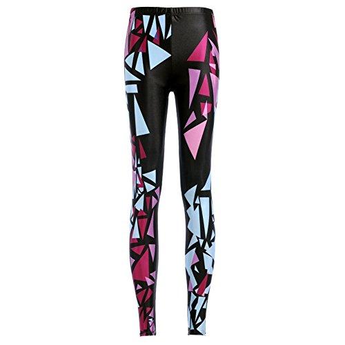 iBaste Sport Taille Haute Legging Serré imprimé Femmes Pantalon Fitness Grande Taille Multicolore