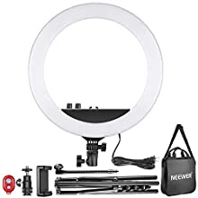 Neewer 14-inch Outer Dimmable LED Ring Light Kit Includes: 30W Bi-Color 3200k-5600K Small Ring Light, Light Stand, Soft Tube, Phone Holder, Ball Head for Make Up Photo Portrait Photography(UK)