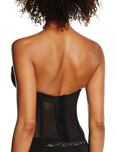 Maidenform Damen Extra Sexy Big Floral Lace Microfiber and Lace-Push Up Bustier Schwarz (BLACK XBK)
