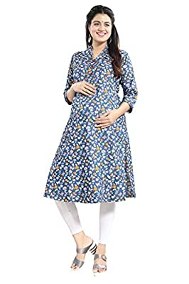 Mamma's Maternity Blue Printed Denim Maternity Kurti