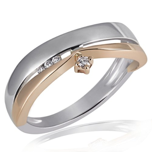 Goldmaid Damen-Ring Weissgold u. Rotgold 585 Bicolor 4 Diamanten Grösse 58 Pa R4264RG58 Brillanten Diamantring Verlobung