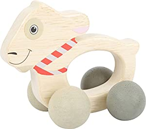 Small Foot Pequeño pie bebé 10654 Grasp Juguete de Madera en Cuatro Ruedas y un Dulce diseño de la Cabra de Billy Ludwig, se Puede acurrucar fácilmente por Baby Hands