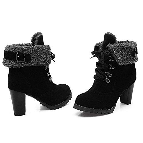 COOLCEPT Femmes Bootie Lacets Black