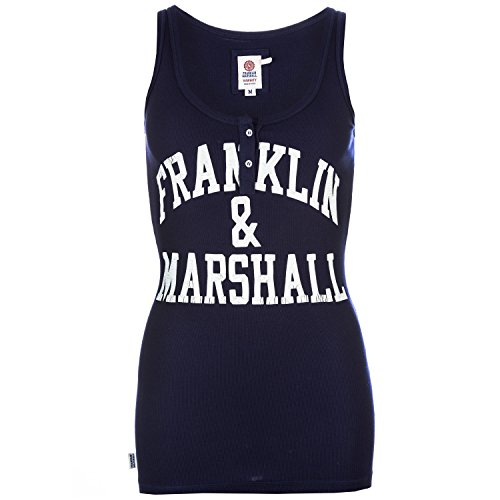 Womens-Franklin-And-Marshall-Logo-Vest-Top-In-Patriot-Navy