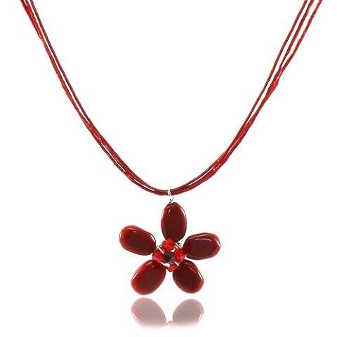 MGD - Roten Halsreif Kette Collier mit Rotem Jaspis Perlen und Swarovski Kristall Blumen Anhänger - Strangkette - Wachsfaden Halskette - Schöne Handgemachte Mode Schmuck für Damen - JA-0132N