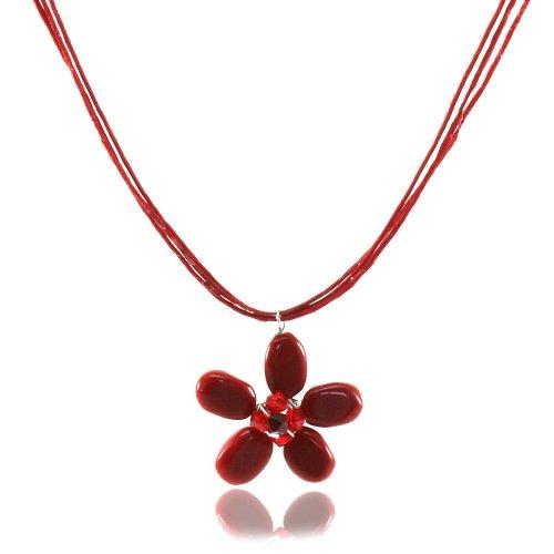 Mgd - cristallo swarovski rosso girocollo collane con diaspro ciondolo fiore - collana filo di cera - filo collane - collana della pietra preziosa - collane donna - ja-0132n