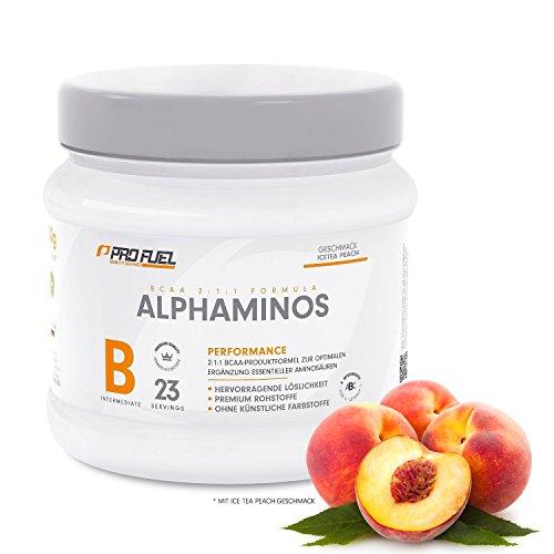 #BCAA Pulver (Aminosäuren) sensationeller Geschmack | Aminos 2:1:1 (Leucin, Isoleucin, Valin) Hochdosiert, Vegan | Für Muskelaufbau, Abnehmen & Sport | PROFUEL Alphaminos 300g – ICE TEA PEACH#