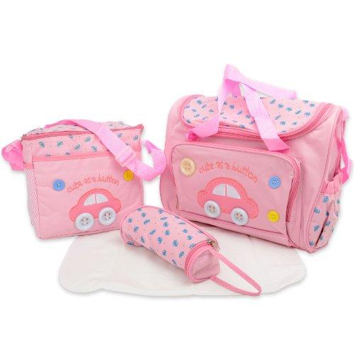 Cute as Button Set di 4 borse per il cambio del pannolino con fasciatoio
