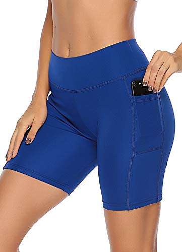 INSTINNCT Damen Sport Kurze Hose mit Taschen Trainingshose Sporthose Jogginghose Fitness Shorts Blau S -