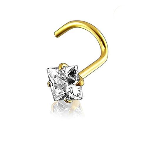 Bijou Piercing Nez à vis 2.5mm Pierre carrée 20G(0.8MM) Or jaune solide 14K