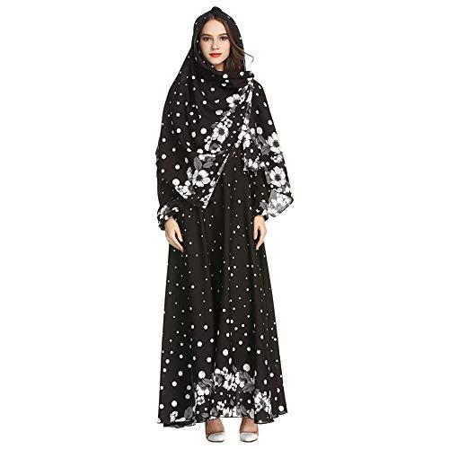 3ff9b4951e57 Meijunter Vestido Largo de Mujer Musulmana con Hijab - Abaya Estampado  Floral Kaftan Túnica Suelta de
