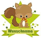 Samunshi® Baby Eichhörnchen Aufkleber mit Namen Autoaufkleber Namensaufkleber Kinder in 7 Größen (10x8,8cm Mehrfarbig)