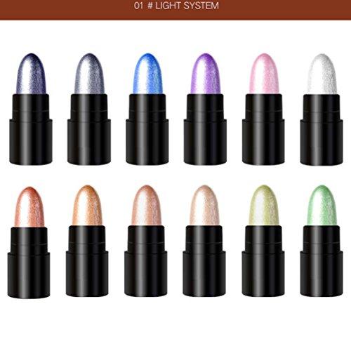 12 Farben Perle Glänzend Lidschatten Stift,Internet Matt Wasserfest Long-Lasting Lidschatten Palette Eyeshadow Pencil Concealer Highlight...