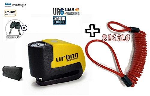 URBAN - Candado de disco UR6 con Alarma 6mm 120dba + REGALO Cable Remi