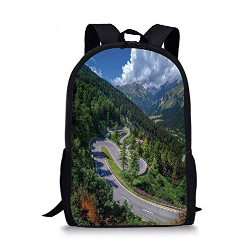 School Bags Outdoor,Natural View of Maloja Pass Alps Switzerland Europe Mountains Forest Highway,Green Grey Blue for Boys&Girls Mens Sport Daypack