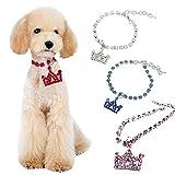 D-SYANA8 Halskette mit Kronen-Anhänger für Hunde und Katzen, Strasssteine, Rot, Größe S, Rose, M