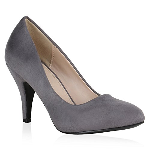 Klassische Damen Schuhe Pumps Allyear Stilettos Basic Leder-Optik 149057 Grau 37 | Flandell® (Leder Pumps Tanz)