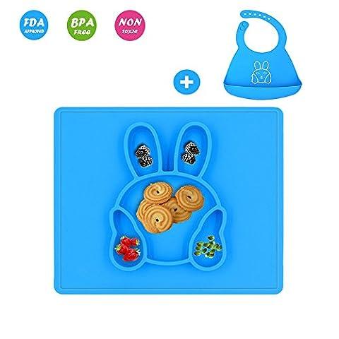 Silikon Tischset Set,Kaninchen Baby Silikon Teller & Silikon Lätzchen,100% Food Grade Silikon,BPA frei,Anti-Rutsch,absolut sicher,verbringen weniger Zeit Reinigung nach Mahlzeiten mit (Food Grade Pvc-material)