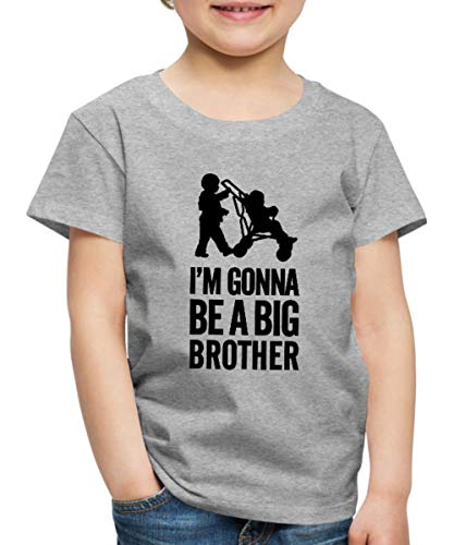 Spreadshirt Gonna Be A Big Brother Werde Großer Bruder Kinder Premium T-Shirt, 98/104 (2 Jahre), Grau meliert -