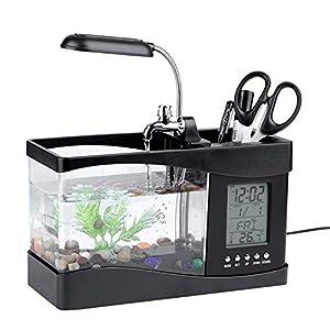 Asixx Multifunktionales Aquarium, Mini Aquarium mit LCD Digitalanzeige, Großen Beleuchtung und Stift-Container für Wohnzimmer, Schlafzimmer und Büro usw(Schwarz)