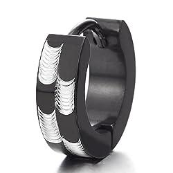 2 Plata Negro Pendientes del Aro con Patrones L ser Pendientes para Hombres Mujer Acero Inoxidable