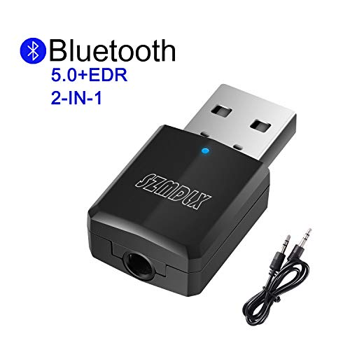 SZMDLX Bluetooth Adapter, Transmitter und Empfänger 2-in-1, USB Bluetooth 5.0 Dongle Stick Adapter 2 in 1 Sender Receiver mit 3,5mm digitales Audiokabel für PC TV Kopfhörer Autoradio für Zuhause (Für Laptop Usb-bluetooth-adapter)