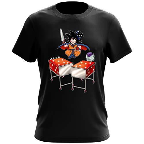 Okiwoki T-Shirt Noir Dragon Ball Z - DBZ parodique Songoku et Freezer : Tour de Magie. : (Parodie Dragon Ball Z - DBZ)