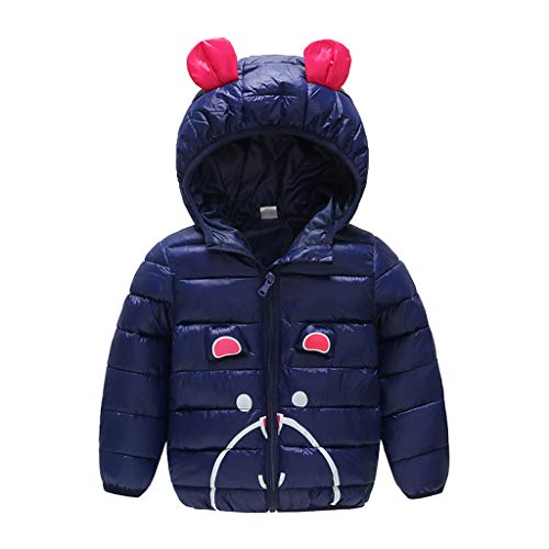 Easong Winter Coats for Kids with Hoods Ears Light Puffer Jacket for Baby Boys Girls Baby Girls' Warm Jacket Toddler Thick Clothes Zip-Up Coats Jacket Snow Hoodie Outwear 6M-4Y