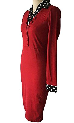 Minetom Donna Vestiti Vintage Scollo a V Pois Giuntura Manica Lunga Casual Cocktail Sera Donna Vestito Dress Rosso