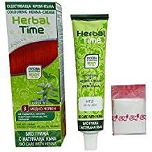 Herbal Time Tinture Semi Permanenti per Capelli Rosso Rame N3 pronta per l'uso con l'henné e Ortica Estrarre Senza Ammoniaca Senza Parabeni