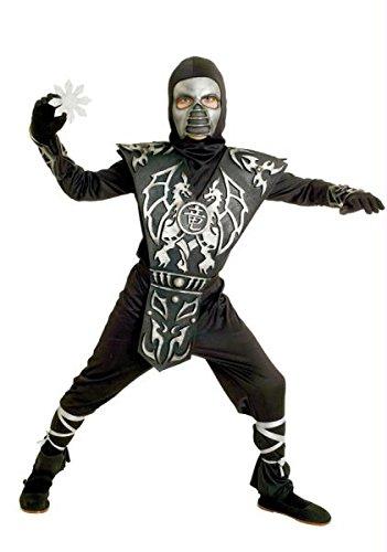 Halloween Kostüm Party Kleidung Festival Fasching Karneval Kleid Cosplay Eis-Drache Ninja Jungen klein ( Overall, Kapuze, Maske, Armschützer, Bein Krawatten und Brustplatte mit Drachen Design. Kind klein 4-6) (Kostüm Brustplatte)