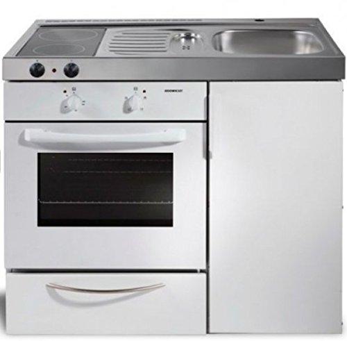 Miniküche Kitchenline - MKB 100 Weiß mit Backofen - BO - Glaskochfeld links - Becken rechts