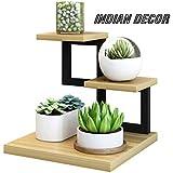 INDIAN DECOR Mini Flower Stand Wrought Iron Desktop Storage Rack Balcony Multi-Layer (Color : Black, Size : 30 * 30 * 28cm)