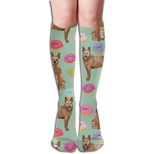 Women's Fancy Design Stocking Australian Cattle Dog Donuts Donuts, Dog Donut, Food, Cute Dog, Pet Friendly Red Heeler Mint Multi Colorful Patterned Knee High Socks (Cute Food Halloween Kostüme)