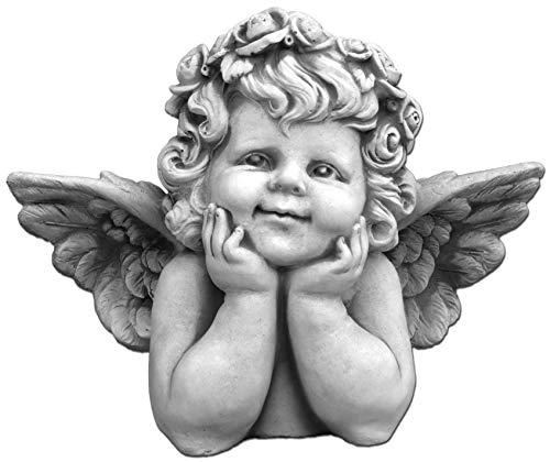 Massive Stein Engel Figur Büste mit Flügel aus Steinguss frostfest Grabdeko Raumdeko