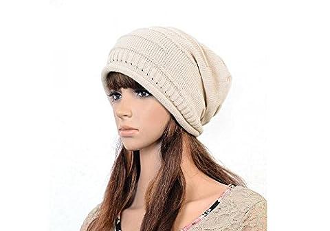 1pcs Hiver chaud Crochet Knit Chapeau–stretch doux irlandais Slouchy Bonnet Tête de mort Casquette, ecru