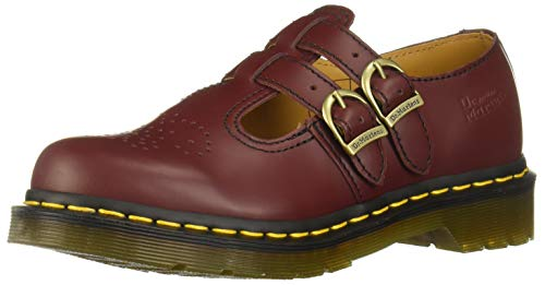 Dr.Martens Womens 8065 Mary Jane Smooth Cherry Leather Shoes 37 EU