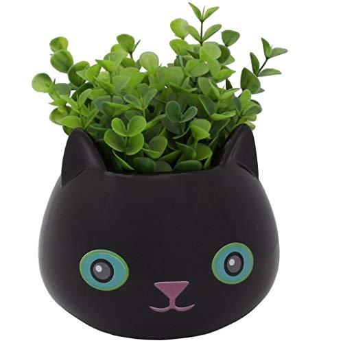 Streamline Blumentopf aus feiner Keramik, Katze, Schwarz