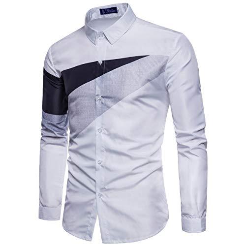 ZODOF camisa hombre camisas sport Casual Pure Color estampadas algodon manga larga Shirts Tops Slim Fit Camisas Blusa Tops Moda para hombre camisa hombre verano(S,Blanco)