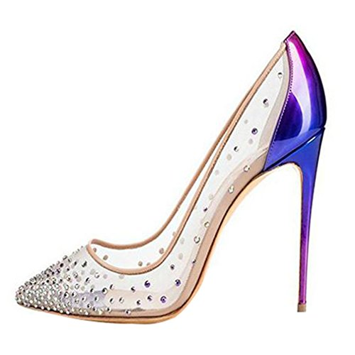 ENMAYER cristallo scarpe dei tacchi alti Point Toe Sinteticomps festa di nozze scarpe da donna Blu