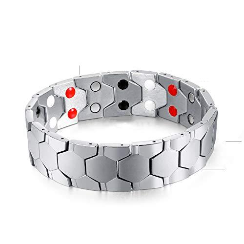 Stahl Magnetarmband, Zweireihiges Magnet Gesundheitsmassage Gliederschmerzen Armband Dieser Schmuck ist das ideale Accessoire für Männer- und Teenagerpartys,Silver ()