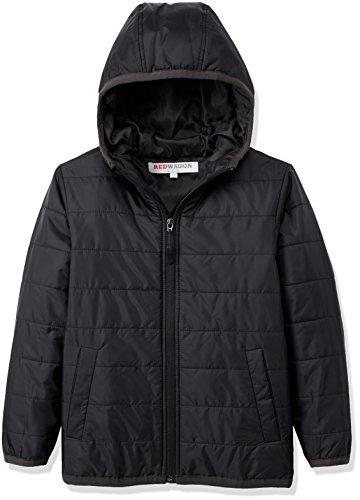 RED WAGON Jungen Jacke School Puffer Jacket, Schwarz (Multi), 110 (Herstellergröße: 5 Jahre)
