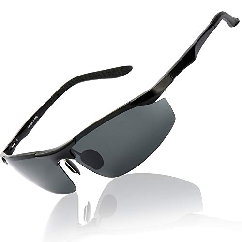 OSVAW Herren Polarisierte Fahren Sonnenbrillen Sport im Freien Brille Unzerbrechlich Federscharnier Ultra leicht AL-MG Rahmen Schwarzes Objektiv für Männer