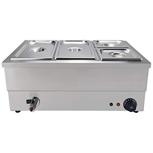 TAIMIKO Commercial Bain Marie 4 ollas calentador eléctrico de alimentos salsa o calentador de alimentos húmedo bien húmedo calor buffet acero inoxidable Gastro sartenes 1500W 1/3 & 1/6 GN Pan & tapas