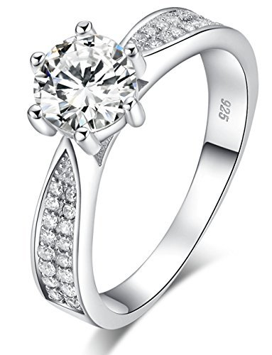 925 Sterling Silver Brilliant Round Cut Crystals Solitaire Promise Forever Eternity Engagement Wedding Rings for women, teenage girls, Size UK with Gift Box, Ideal Gift for Lovers (Q)