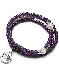0f5224299184c CrystalTears 108 Bracelet Multi Tour Mala Energie Pierre Naturelle Perles  Eau Douce Tibétain Bouddha Grain de