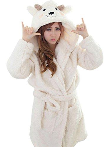 ECHERY Unisex Animal Cartoon Fleece Warm Kapuzen-Bademantel Roben Kleid Nachtwäsche Cosplay Kostüm - Robe Sexy Kapuzen Kostüm