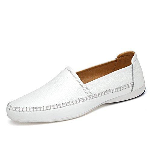 ailishabroy ailisharoy Pour des hommes Décontractée Au volant Chaussures de voiture Glisser sur Flâneurs Mocassins pour homme en cuir véritable Blanc